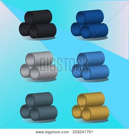 Vector 3d Illusrtation Of Pipes Iin Different Colors. Pipes Of Yellow, Black, Blue, Blue And Gray Co