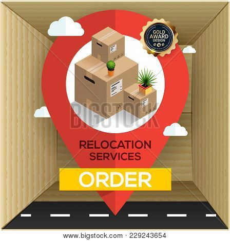 Relocation Services Concept. Carton Boxes And Big Map Pointer! Transport Company. Business Relocatio