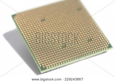 Central Processing Unit Cpu Microchip On White Background