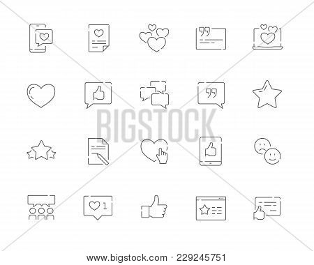 Simple Set Of Testimonials And And Customer Relationship Management Vector Line Web Icons. Contains