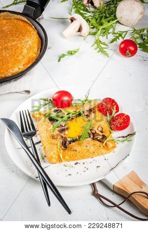 French Cuisine. Breakfast, Lunch, Snacks. Vegan Food. Traditional Dish Galette Sarrasin. Crepes With
