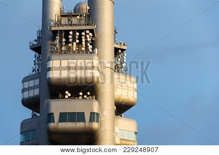 Prague, Czech Republic - March 11 2017: Zizkov Television Tower Transmitter Detail During Sunset On
