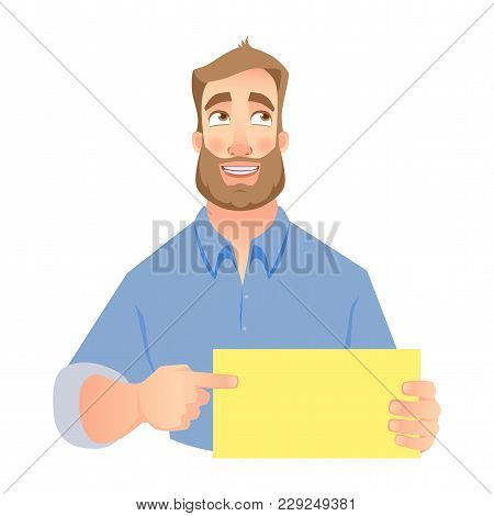 Man Holding Blank Card. Shy Businessman Pointing To Card.  Illustration Set
