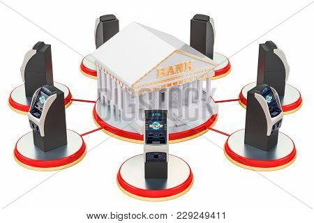 Banking Service Concept, Atm Machines Around Bank. 3d Rendering