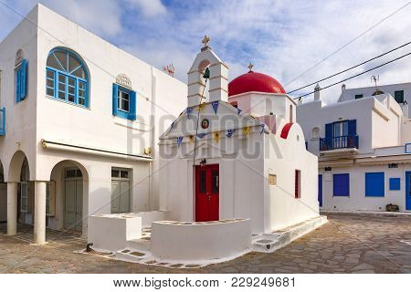 Agia Anna Church, Typical Greek Church Building On The Island Mykonos, The Island Of The Winds, Gree