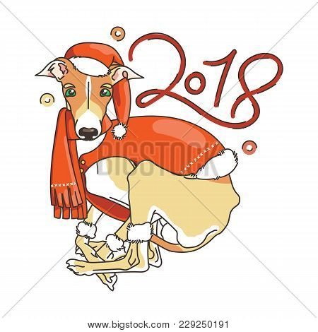 Yellow Dog For New Year 2018, Cute Symbol Of Horoscope. Cute And Pretty Italian Greyhound For Holida