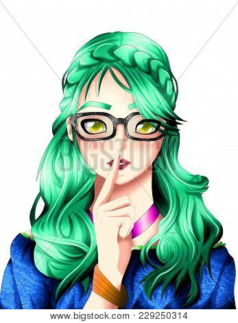 Anime Girl Portrait, Anime And Manga Syle.