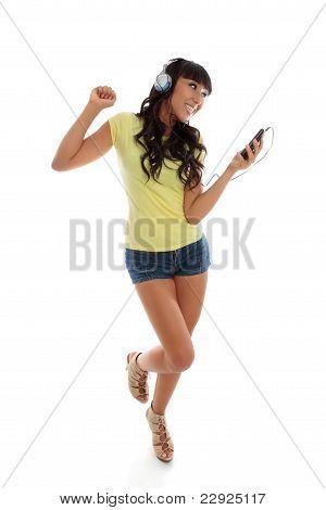 Happy Girl Playing Music Dancing