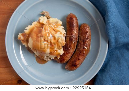 Traditional Bangers With Mashed Potatoes, Sausages And Gravy