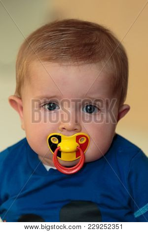Cute Baby Boy (6 Months Old) With Belgian Tricolore (black, Yellow, Red) Pacifier