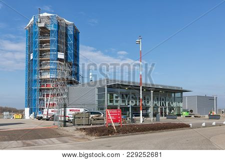 Lelystad, The Netherlands - February 02, 2018: Control Tower Lelystad Airport Under Construction. Le