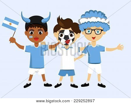 Fan Of Argentina National Football, Hockey, Basketball Team, Sports. Boy With Argentina Flag Of The