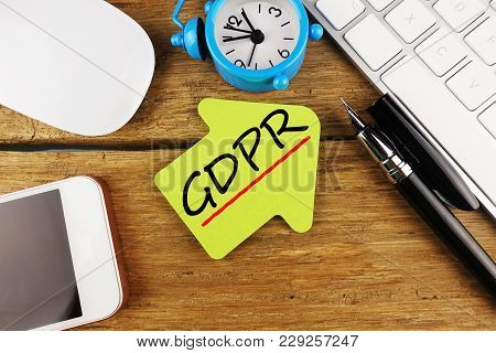 Change Of Law Gdpr General Data Protection Regulation With Computer Keyboard And Smartphone Devices