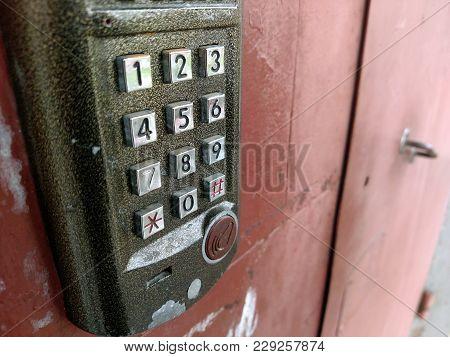 Door Access Control Panel To Lock And Unlock Door. Security System Concept.