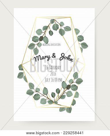 Natural Botanical Greeting Wedding Invitation, Invite Template. Geometrical Polyhedron, Golden Frame
