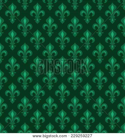 Royal Heraldic Lilies (fleur-de-lis) -- Emerald Green Velvet, Seamless Pattern, Wallpaper Background