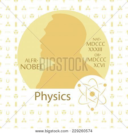 Stylized Nobel Medal. Silhouette Of Nobel In A Flat Style. Seamless Pattern With Elements On A Physi