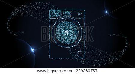 Abstract Washing Machine Made Up Of Particles. Washing Machine Consists Of Small Circles And Dots. P