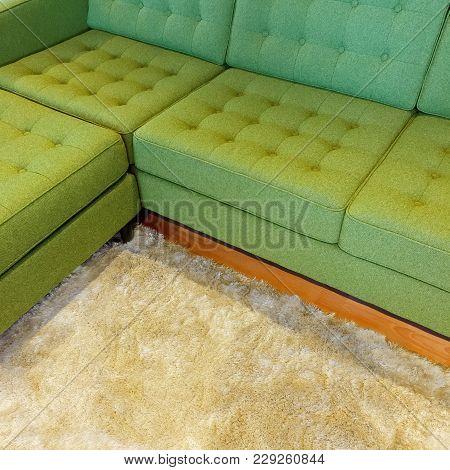 Bright Green Corner Sofa On Fluffy Rug. Contemporary Furniture.