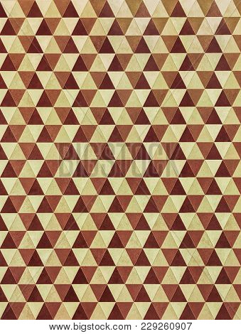 Retro Style Geometric Wallpaper In Brown And Yellow Tones.