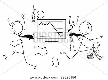 Cartoon Stick Man Drawing Conceptual Illustration Of Scared Businessmen Running In Panic, Crying Or