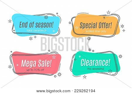 Flat Linear Promotion Ribbon Banner, Scroll, Price Tag, Sticker, Badge, Poster Vector Illustration