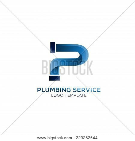 Plumbing Company Logo Vector Concept. Simple And Stylish Logotype. Letter P Logo Vector