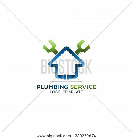 Plumbing Service Company Logo Vector Concept. House With Wrench Simple And Stylish Logotype.