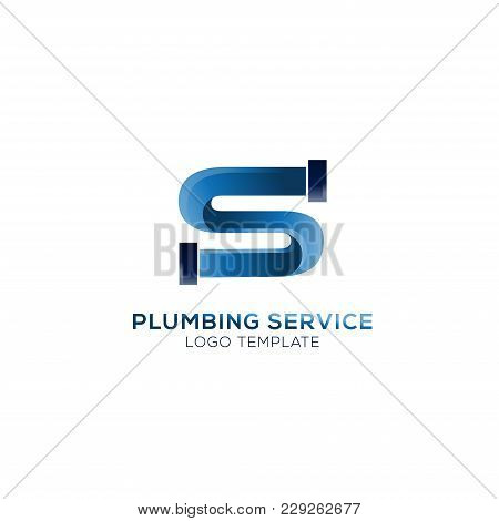 Plumbing Company Logo Vector Concept. Simple And Stylish Logotype. Letter S Logo Vector