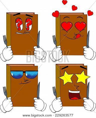 Books Holding Up A Knife And Fork. Cartoon Book Collection With Various Faces. Expressions Vector Se