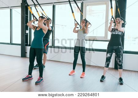 Team Of Fitness Trx Suspension Straps Training Exercises Asian People Doing The Pull Up, Working Wit