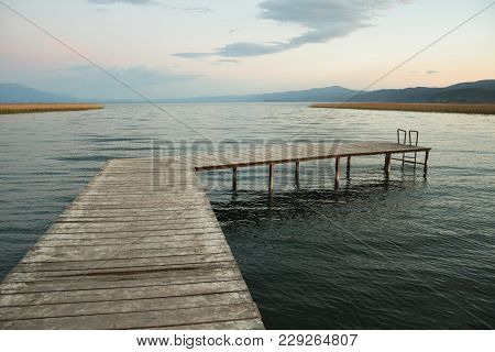 Wooden Pier On A Ohrid Lake, Macedonia.