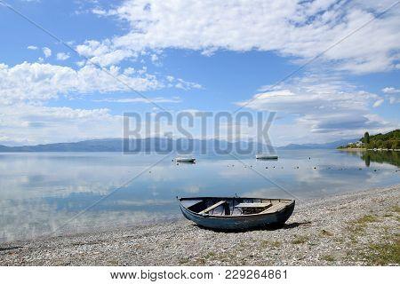 Old Boat On Lake Beach. Ohrid Lake, Macedonia.