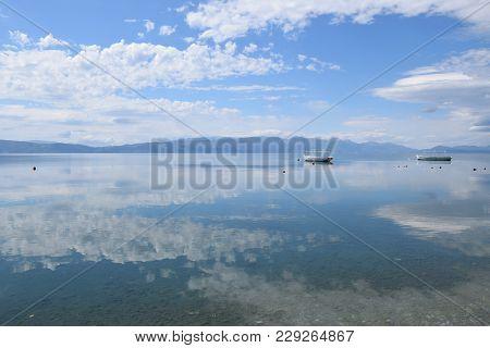 Boats Moored In Ohrid Lake, Macedonia Landscape.