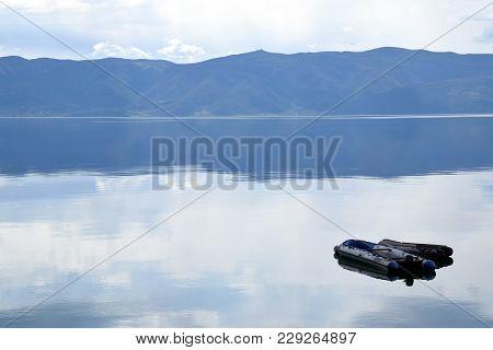 Pontoon Moored In Ohrid Lake, Macedonia Landscape.