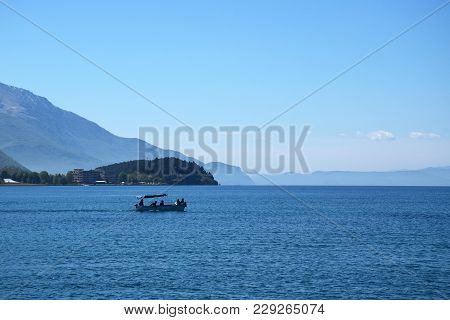 Boat Flows In Ohrid Lake. Ohrid, Macedonia.