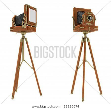 Vintage Large Format Camera Isolated
