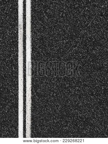 Road top view. Asphalt highway marks.