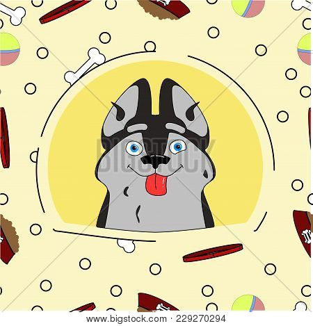 Illustration Of A Dog In Cartoon Style