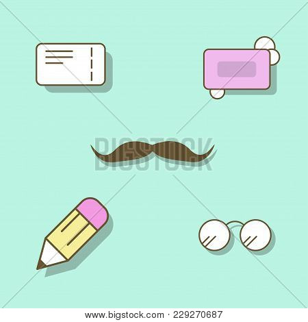 Icons In The Style Of A Flat Mustache, Glasses, Soap, Ticket, Pencil