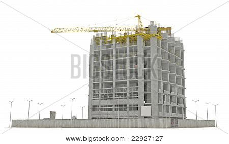 Construction Site: Building A Skyscraper Isolated