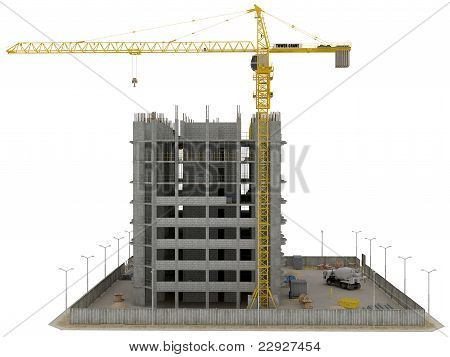 Site Area: Huge Tower Crane And Unfinished Buiding