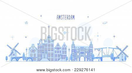 Amsterdam Skyline, Netherlands. This Vector Illustration Represents The City With Its Most Notable B