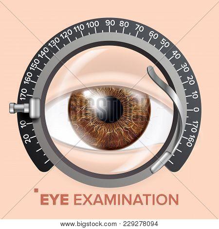 Eye Test Banner Vector. Trail Frame. Diagnostic Equipment. Optometrist Check. Care Illustration