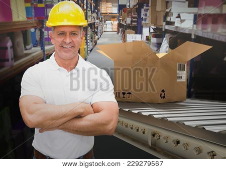 Digital composite of man with boxes on conveyor belt in warehouse