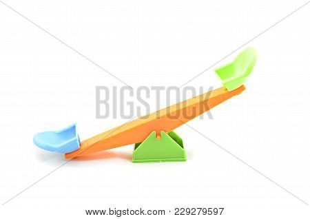 Colorfull Unbalance Position Seesaw Isolated White Background