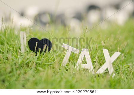 Blurred Image Concept Closeup White Wood Alphabet I Love Tax. Black Love Symbol On Green Grass