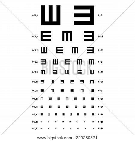 Eye Test Chart Vector. E Chart. Vision Exam. Optometrist Check. Medical Eye Diagnostic. Sight, Eyesi