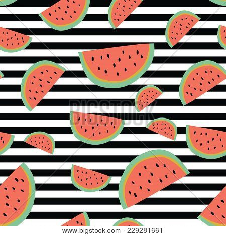 Vibrant Stripe Watermelon Background. A Vibrant, Modern, And Flexible Pattern For Brand Who Has Edgy
