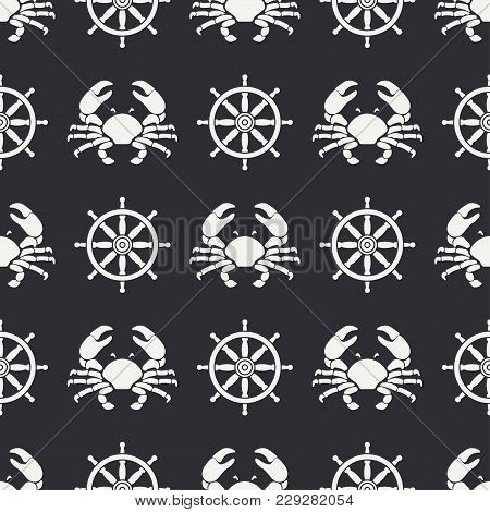 Flat Line Vector Seamless Pattern Ocean Crab And Steering Wheel. Simplified Retro Cartoon Style. Can